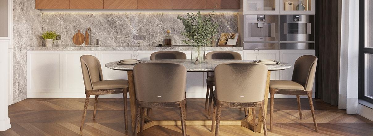 Большие кухни‐гостиные